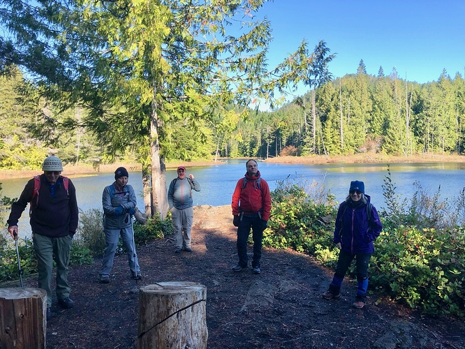 Empress, lake and cold hikers