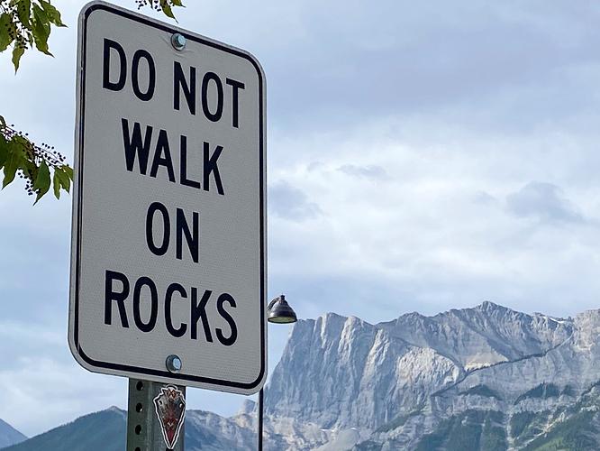 07HU-Jenny Feick-do not walk on rocks in Canmore