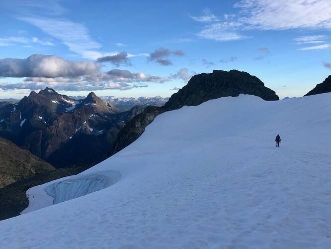 heading bavk across Rambler glacier in early evening light